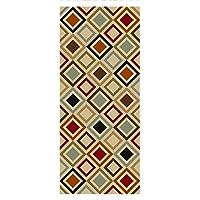 Custom Size Multicolor Squares Non-Slip Rubber Backed Hallway Carpet Runner Rug | 31-inch x 22-feet