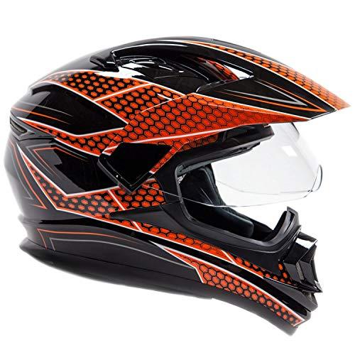 Enduro Atv - Typhoon XP14 Full Face Dual Sport Helmet Off Road UTV ATV Motorcycle Enduro - Orange & Black - Large