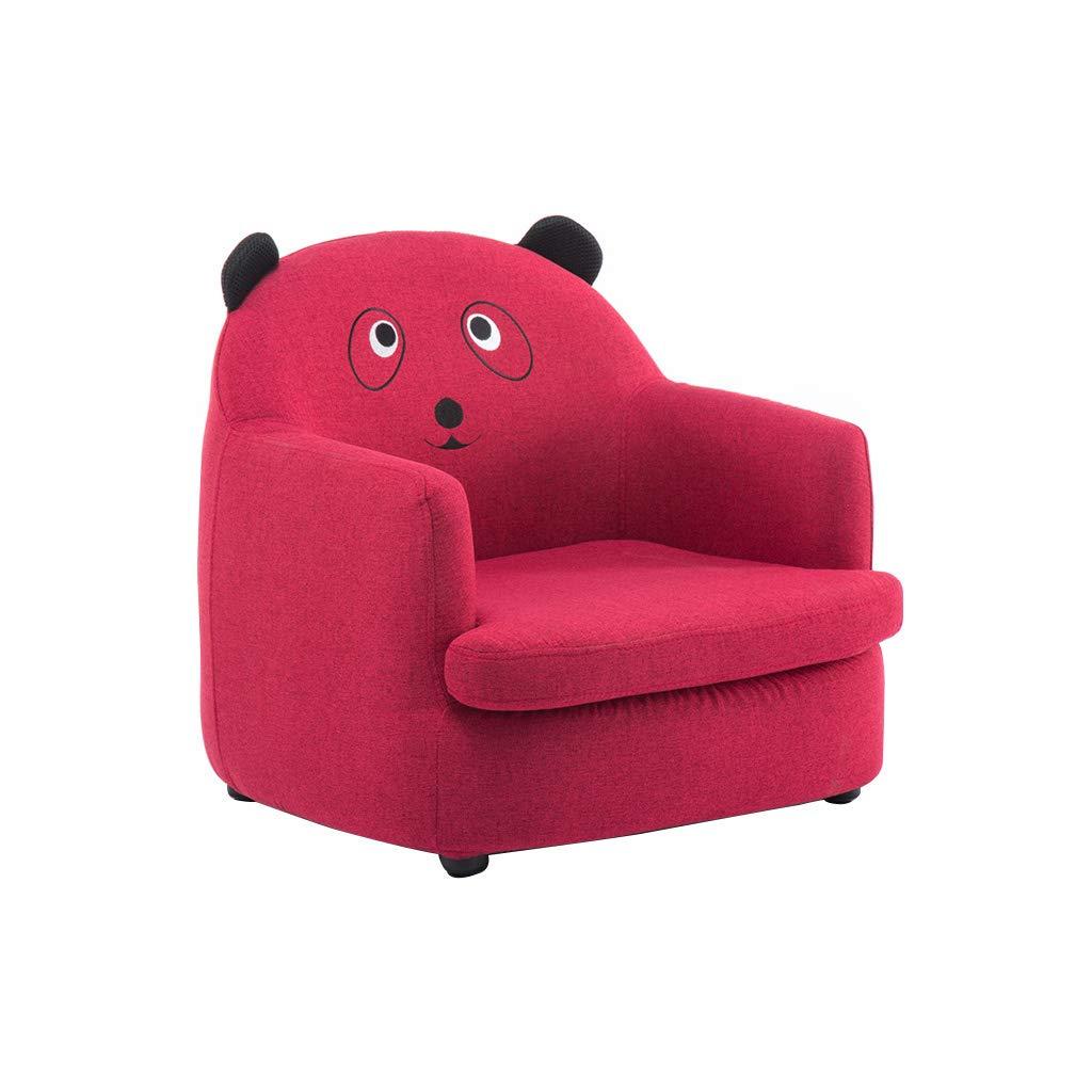 WANGJIN-Sofa infantil Cute Animal Sillones para niños Juego de sofá para niños Sofá Asiento Juego Silla Asiento Reposapiés Lino Natural Extraíble Lavable (Rojo)