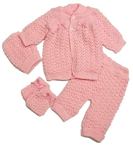 - Abelito Baby's Four Piece Crochet Outfit Set One Size Pink