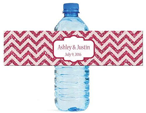 100 Chevron Red glitter Background Wedding Water Bottle Labels Engagement Party 8