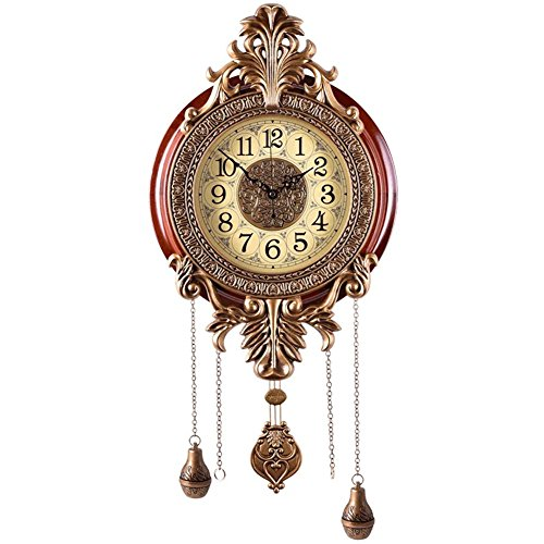 (Aero Snail LARGE Retro Style Vintage Royal Line Silent High-end Luxury Metal Wood Wall Clock with Swinging Pendulum)