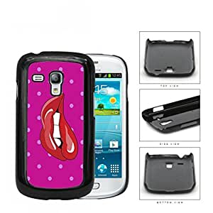 Red Lips Biting With Pink Polka Dots Hard Plastic Snap On Cell Phone Case Samsung Galaxy S3 SIII Mini I8200