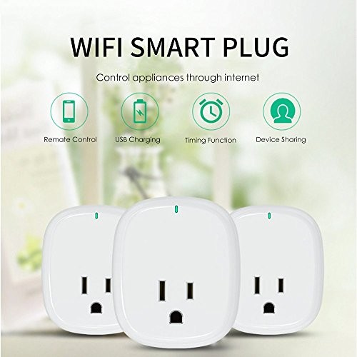 WiFi Smart Plug, Smart Outlets ,Smart Socket No Hub Required,Works with Amazon Alexa Echo and Google Home Assistant IFTTT, Controls Your Devices from Anywhere,with 5V 1A USB Charging Port ( 1-Pack) by Pilence (Image #1)