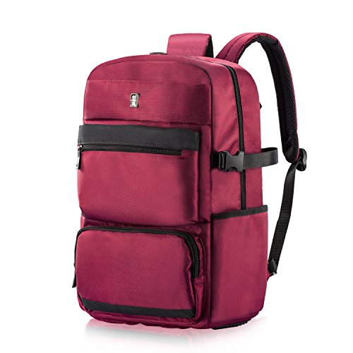 Travel Laptop Backpack, Sosoon Lightweight Waterproof Resistant Polyester Business Backpack School Bag Travel Daypack for College Student Work Men & Women, Fits Under 17 Inch Laptop Notebook, Red