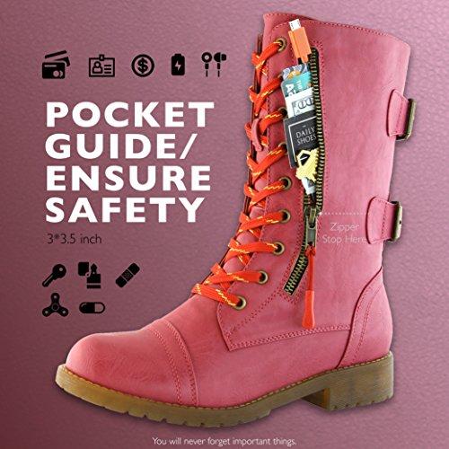 Dailyshoes Kvinna Militära Strids Fotled Toffeln Bekväm Vandring Snörning Spänne Mitten Knä Kreditkort Ficka Stövlar Premium Hot Pink Pu