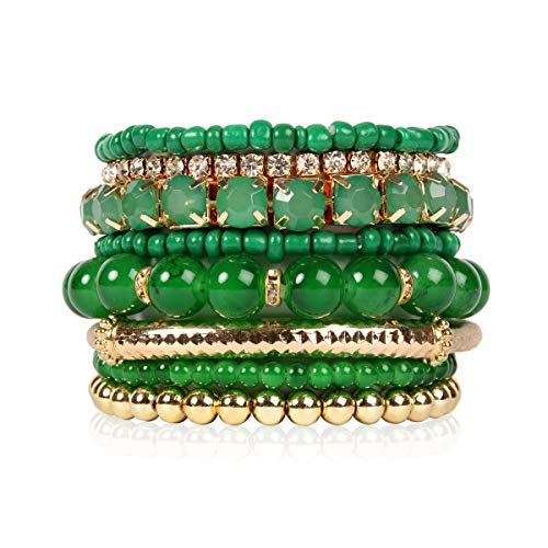 RIAH FASHION Multi Color Stretch Beaded Stackable Bracelets - Layering Bead Strand Statement Bangles ([S-M] Dark Green)