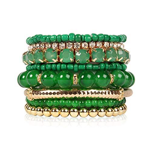 Bangle Green Rhinestone - RIAH FASHION Multi Color Stretch Beaded Stackable Bracelets - Layering Bead Strand Statement Bangles ([S-M] Dark Green)