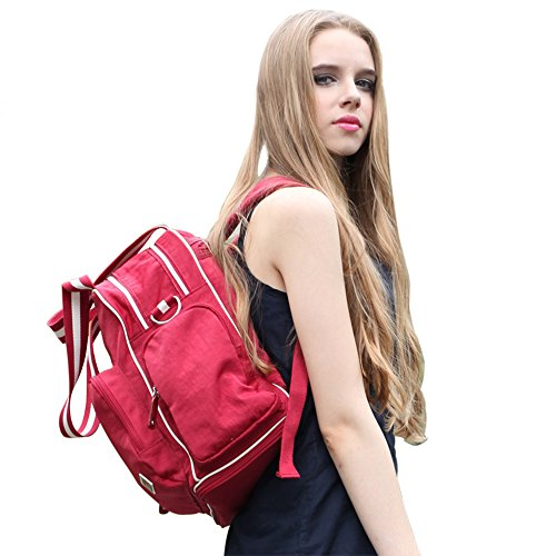 Travel Backpack Baby Diaper Bag Tote Handbag With Messenger Strap Red