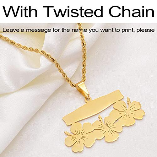 LTH12 Pendant Necklace - Customize Name Letters Pendant Necklaces,Personalized Print Date of Birth or Your Idea Hawaiian Flowers Jewelry #107421 - with Twisted Chain 60cm Thin Chain -