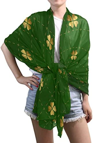 ALAZA Ethnic Green St Patrick Day Shamrocks Sheer Scarves Shawl Wrap Women Infinity Oblong Chiffon Scarf for Outdoor