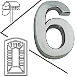 Magicdo® Large Mailbox number, mail box sticker, house number, house number sticker, car sticker, 3D metal shining reflective number, Self-Stick numbers, floating appearance vinyl number (6, silver)