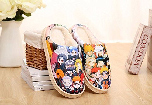 (Cosplay Anime Naruto Men's/Women's Slippers Fashion Autumn and Winter Thick Home Warm Cotton Slippers/Plush Slippers/Anti-Skid Home House Slippers Anime Fans Warm Slippers)