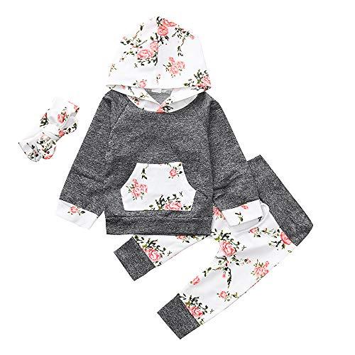 FEITONG 2pcs/3Pcs Toddler Infant Baby Boy Girl Clothes Set Floral Hoodie Tops+Pants Outfits(12-18M,3PCS Dark Gray)