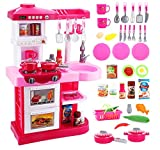 deAO KC2-P Pink Kitchen Playset with 30 Accessories Role Playing Game Set