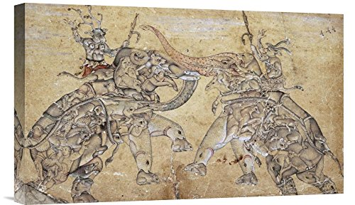 Global Gallery Budget GCS-268329-22-142 Mughal Elephants in Combat Gallery Wrap Giclee on Canvas Wall Art Print