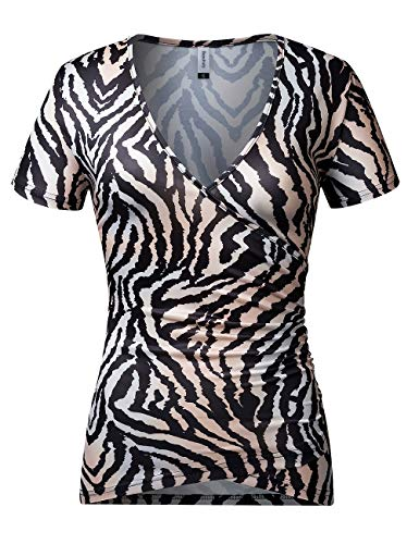- Beauhuty Women's Top Deep V Neck Slim Fitted T-Shirt Front Criss-Cross Wrap Short Sleeve Tees (XXL, Tiger Print)