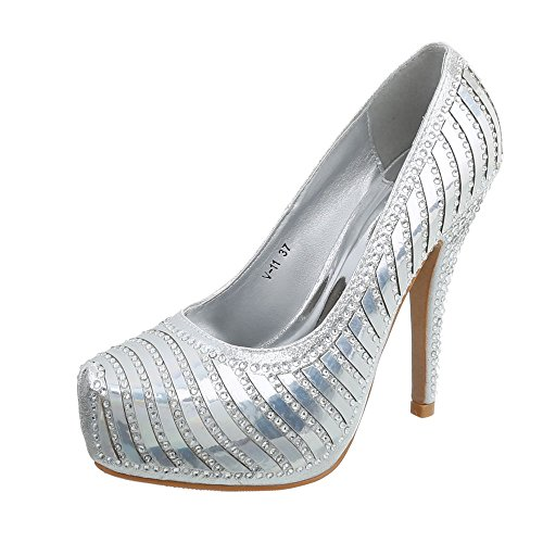 Ital-Design High Heel Pumps Damenschuhe Pfennig-/Stilettoabsatz Heels Silber V-11