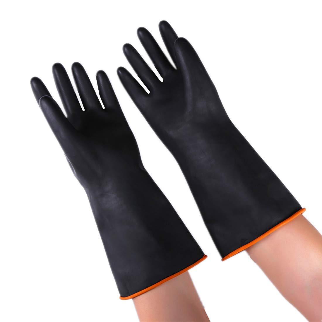 厚手ゴム手袋 4ペア 車 自宅 オフィス 家庭用クリーニングツール 保護手袋 XXL ブラック XXL ブラック B07M9VB1W6