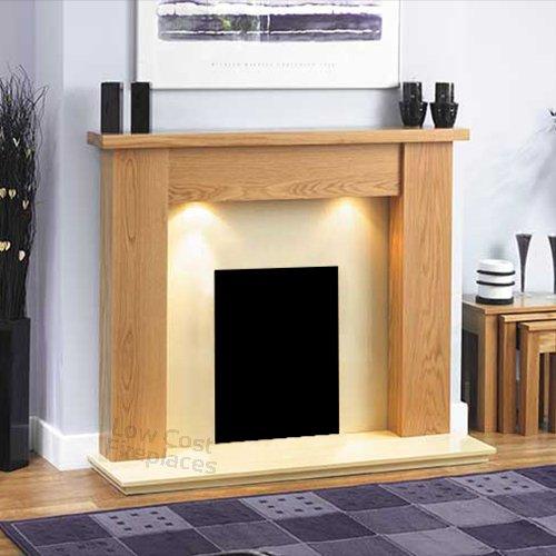 Oak Wood Fireplace Surround Cream Ivory Hearth Lights Suite Modern
