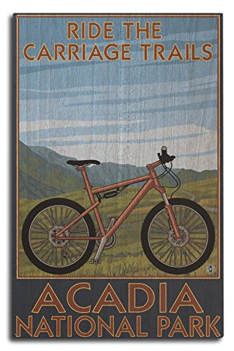 Acadia National Park, Maine - Ride the Carriage Trails (10x15 Wood Wall Sign, Wall Decor Ready to Hang)