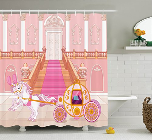 Ambesonne Teen Girls Decor Collection, Fairytale Carriage with Ornamental Details Stopped at the Door of Palace Pattern, Polyester Fabric Bathroom Shower Curtain Set with Hooks, Yellow (Christmas Party Ideas For Teens)