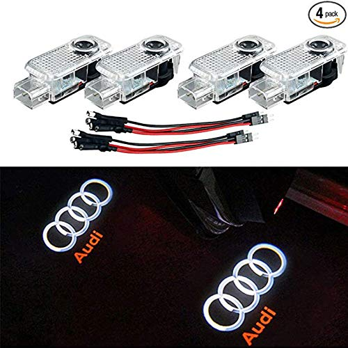 Car Door LED Lighting Entry Ghost Shadow Projector Welcome Lamp Logo Light for AUDI Series Symbol Emblem Courtesy Step Lights Kit Replacement(4 pack)