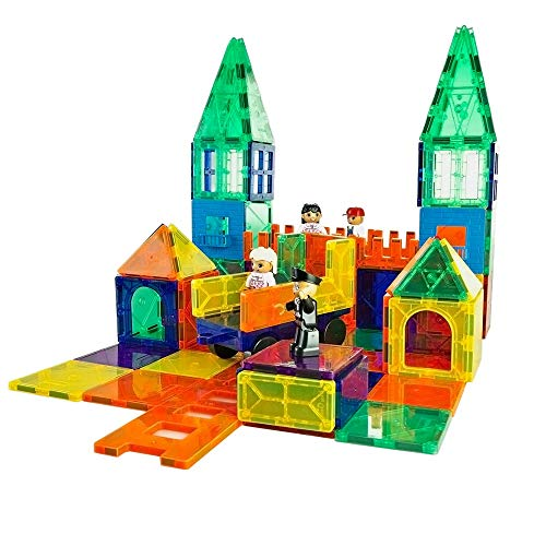 Mag-Genius Magnet Tiles 102 Piece Set Includes All The New Magnet Tiles and Clickins to Build The Perfect Castle Includes Clip in Windows and All New Magnet -
