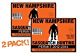New Hampshire-SASQUATCH HUNTING PERMIT LICENSE TAG DECAL TRUCK POLARIS RZR JEEP WRANGLER STICKER 2-PACK!-NH