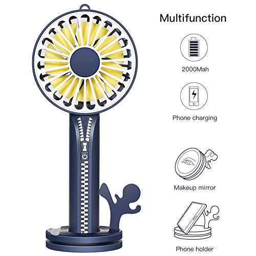 Mini Handheld Fan, Portable Personal Hand Held Fan with Multifunction Base, USB Fan 2000mAh Rechargeable Battery Operated Desk Table Fan, 3 Speed Settings, Ideal for Home Office Outdoor -