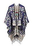 JURUAA Plus Size Knitted Poncho Sweater Shawls Wraps Cape Ruana Coat MidnightBlue