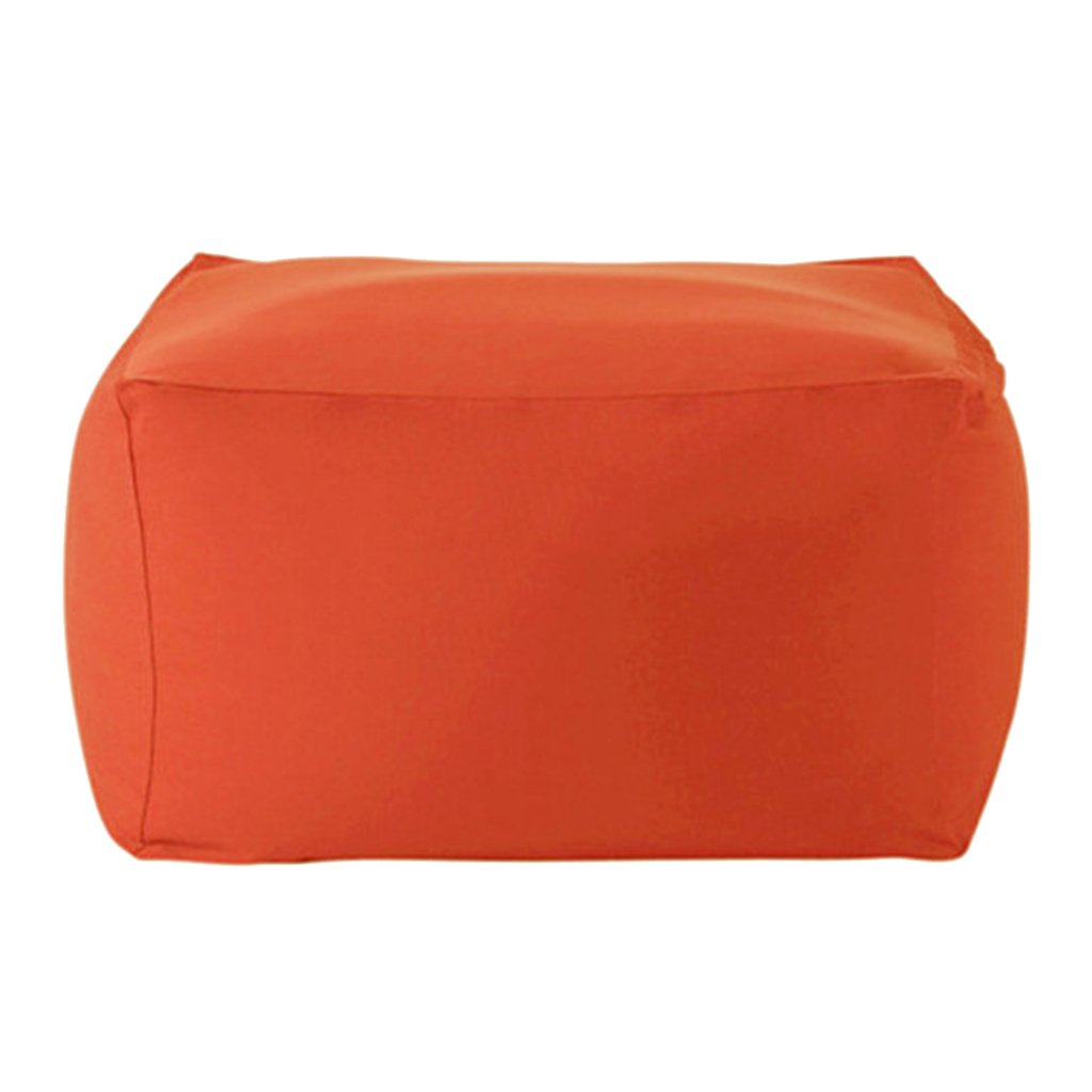 Blesiya Solid Color Linen Bean Bag Cover Sofa Slipcover Perfect Stuffed Animal Toys Storage Pockets, 15 Colors Available - Orange
