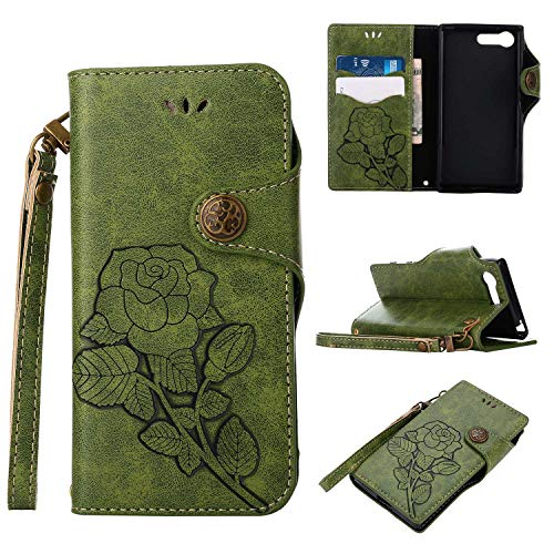 Sony Xperia X Compact Protective Case, UNEXTATI Vintage Rose Pattern Stand PU Leather Flip Cover, Wallet Case Cover with Hand Strap for Sony Xperia X Compact (Green)