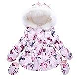 LUKYCILD Baby Girl Butterfly Pattern Outwear Winter Warm Hoodie Down Jacket Coat Pink 4-5 Years
