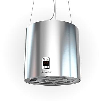 bergstroem design cappa isola liberamente sospesa soffitto a cupola in acciaio inox