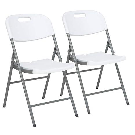 Sedie Pieghevoli In Resina.Bakaji Set 2 Sedie Pieghevoli Con Struttura In Metallo E Seduta Con