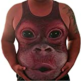 Men Casual Plus Size Elastic Vest,Sleeveless Orangutan face Print Obesity Tops Tank O-Neck Blouse Wine Red
