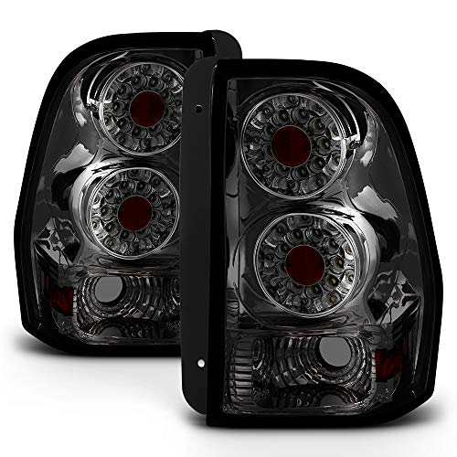 VIPMOTOZ LED Tail Light Lamp Assembly For 2002-2009 Chevy Trailblazer & EXT - Metallic Chrome Housing, Smoke Lens, Driver and Passenger ()