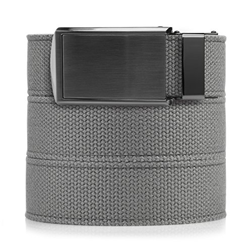 SlideBelts Men's Canvas Belt - Grey with Gunmetal -