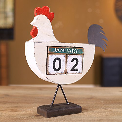 The cocks creative calendar ornaments home bedroom furnished with American retro displayed so the old decorations