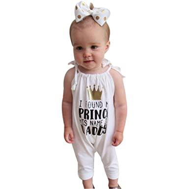 ae8c5b0d121 IGEMY Newborn Infant Baby Girls Letter Sleeveless Romper Jumpsuit Outfits  Clothes  Amazon.co.uk  Clothing