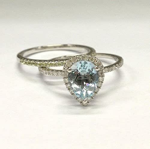Amazon.com: Pear Aquamarine Diamond Engagement Ring Bridal