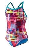 Speedo 7719604 Womens Printed Propel Back Swimsuit, Blue/Red - '14/40