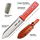 Black Iron Tools Hori Hori Garden Knife, Ideal Gardening Digging Landscaping Weeding Tool, Stainless Steel Japanese Blade with Protective Handguard and Full Tang Handle, Leather Sheath and a Fine Gift