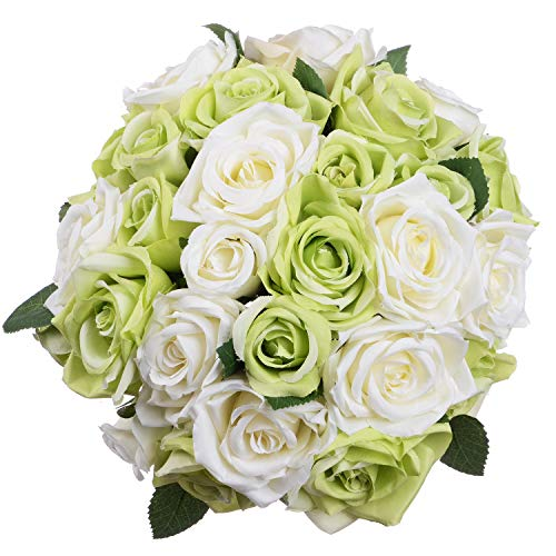 Artiflr Artificial Flowers Rose Bouquet 2 Pack Fake Flowers Silk Plastic Artificial White Roses 18 Heads Bridal Wedding Bouquet for Home Garden Party Wedding Decoration (Green)