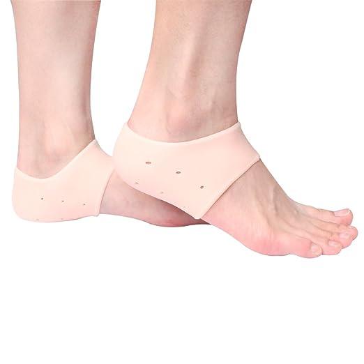 Plantar Fasciitis Heel Protectors Sleeve - Moisturizing Gel Feet Heel Spur Pads Socks for Relief Heel Pain - 1 Pair (2.5mm, Skin)