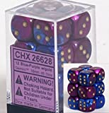Chessex Dice d6 Sets: Gemini Blue & Purple with Gold - 16mm Six Sided Die (12) Block of Dice