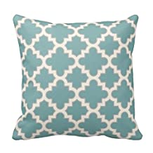 Modern Moroccan Quatrefoil in Teal Cream Grey Pillowcase 16 x 16 Pillow Cover Twin Sides