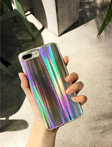 the latest 1eb0c 1f291 Keklle iPhone 8/7 Case, Rave Psychedelic Holographic Cool Sparkle Bling  Glitter Shiny Rainbow Designer Cover With Laser Pattern, [Extra Thin Soft  TPU ...
