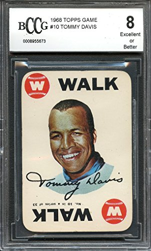 1968 topps game #10 TOMMY DAVIS los angeles dodgers BGS BCCG 8 Graded - Topps 1968 Game